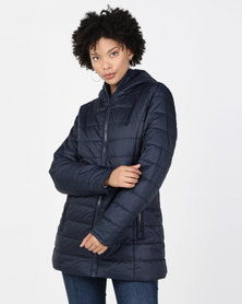 cath.nic By Queenspark Hooded Zip Puffer Jacket  Navy