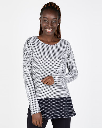 Miss Cassidy By Queenspark Colourblock Double Knit Top Navy