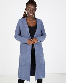 Miss Cassidy By Queenspark Hooded Longer Length Knitwear Cardigan Blue
