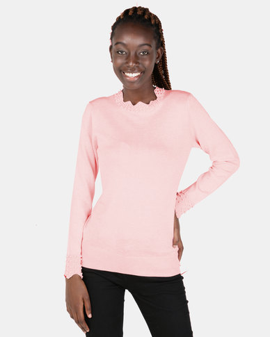 Miss Cassidy By Queenspark Pearl Trim Melange Scallop Jersey Pink