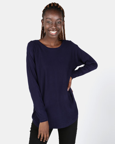 Miss Cassidy By Queenspark Curved Hem Jersey Navy