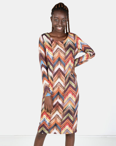Miss Cassidy By Queenspark Italian Rabinbow Knit Dress Multi