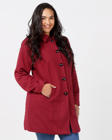 Queenspark Plus Zig Zag Button Knit Coat Red