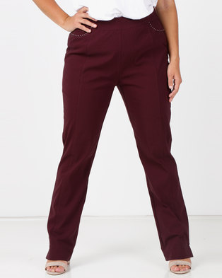 a109d47d849f0 Queenspark Plus Beaded Mock Pocket Stretch Bengaline Pants Burgundy