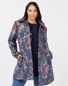 Queenspark Plus New Floral Damask Woven Coat Navy