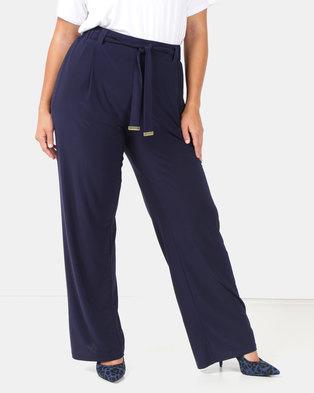 Queenspark Plus Pull On Tie Belt Knit Pants Navy
