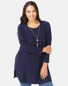 Queenspark Plus Dropped Shoulder Knit With Necklace Top Navy
