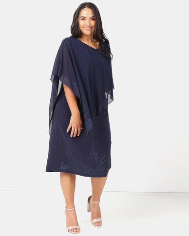 Queenspark Plus Princess Beatrice 3D Glamour Knit Dress Navy