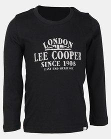 Lee Cooper Boys Long Sleeve Printed Top Black