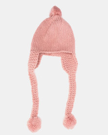 Utopia Kids Ear Flap Pom Pom Beanie Pink