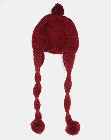 Utopia Kids Ear Flap Pom Pom Beanie Burgundy