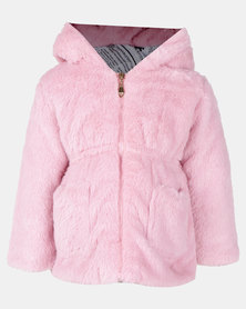 Utopia Toddler Girls Plush Teddy Ears Jacket Pink