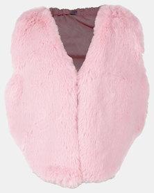 Utopia Toddler Girls Plush Gillet Pink