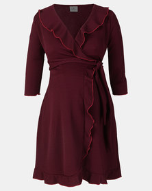 Hannah Grace Burgundy Wrap dress