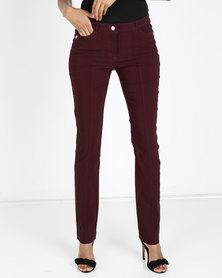 Queenspark Pocket Detail Stretch Bengaline Woven Slacks Burgundy