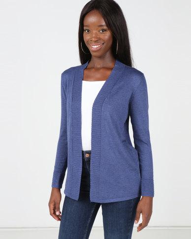Queenspark Rib Detail Melange Core Knitwear Cardigan Dark Blue