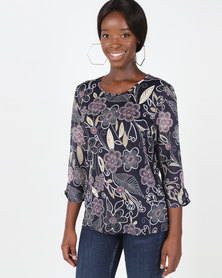 Queenspark Wisteria Print Knit Top Navy
