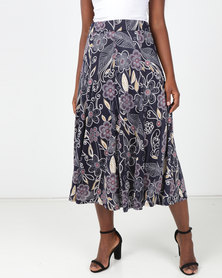 Queenspark Wisteria Print Knit Skirt Navy