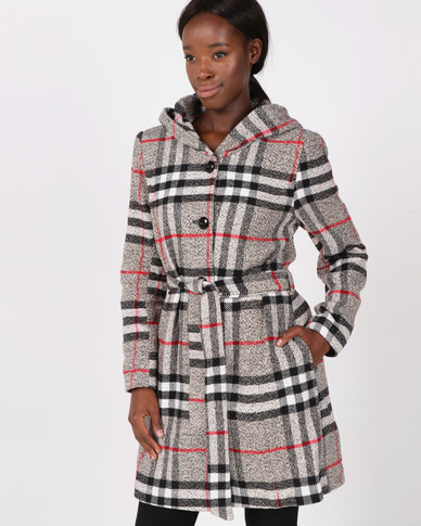 Queenspark Checked Hooded Holiday Coat Multi