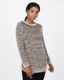 Queenspark Long Sleeve Curved Hem Knitwear Multi