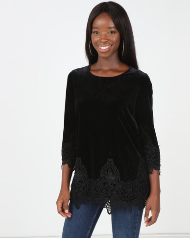Queenspark Beaded Velvet Knit Top Black