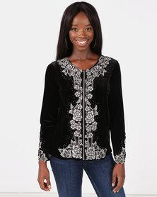 Queenspark Velvet Embellished Knit Jacket Black
