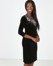 Queenspark Princess Catherine Velvet Knit Dress Black