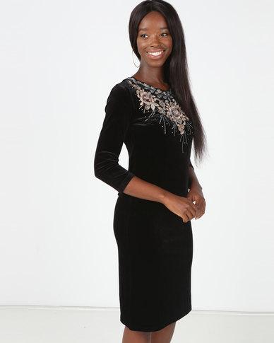 Queenspark Princess Catherine Velvet Knit Dress Black