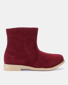 Naughty Kids Faux Fur Boots Burgundy