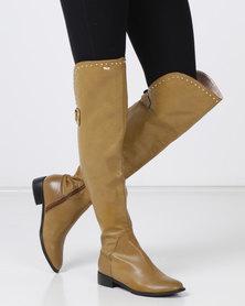 PLUM Maddie OTK Boots Tan