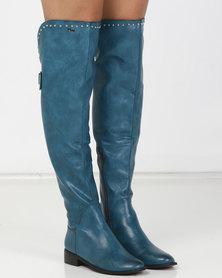 PLUM Maddie OTK Boot Blue