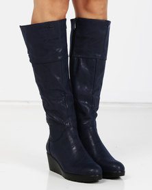 PLUM Lucy Long Boots Navy