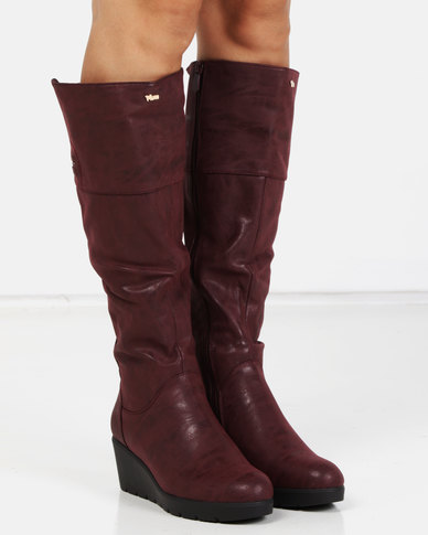 PLUM Lucy Long Boots Burgundy