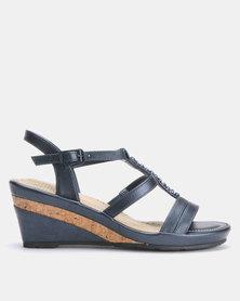 Bata Comfit Wedge Sandal Navy