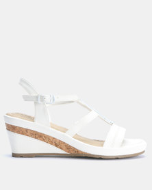 Bata Comfit Wedge Sandal White