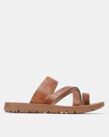 Franco Ceccato Flat Slip On Sandals Tan