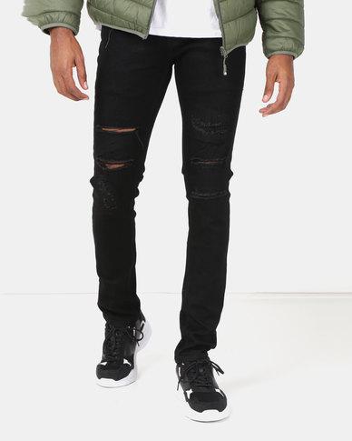 Lee Cooper M Kemp Skinny Fit Denim Jeans Black