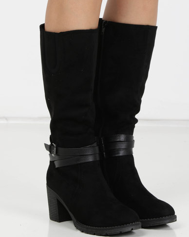 Utopia Heeled Knee High Boots Black