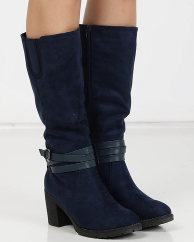 Utopia Heeled Knee High Boots Blue