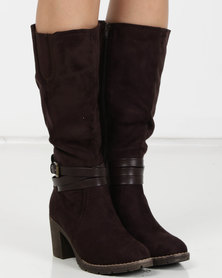 Utopia Heeled Knee High Boots Brown
