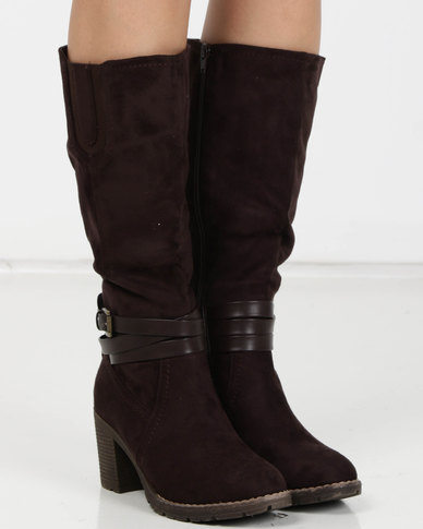 Utopia Heeled Knee High Boots Brown