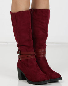 Utopia Heeled Knee High Boots Burgundy