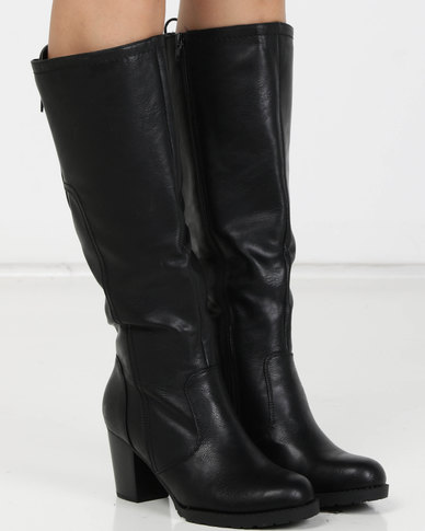 Utopia PU Heeled Knee High Boots Black