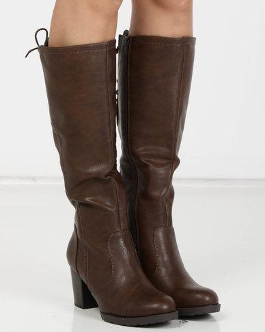 Utopia PU Heeled Knee High Boots Brown