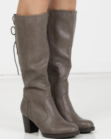 Utopia PU Heeled Knee High Boots Grey