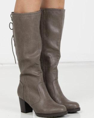Utopia PU Heeled Knee High Boots Grey