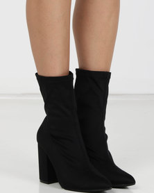 Utopia Stretch Block Heel Boots Black