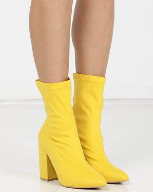 7ff3c19643f Utopia Stretch Block Heel Boots Yellow