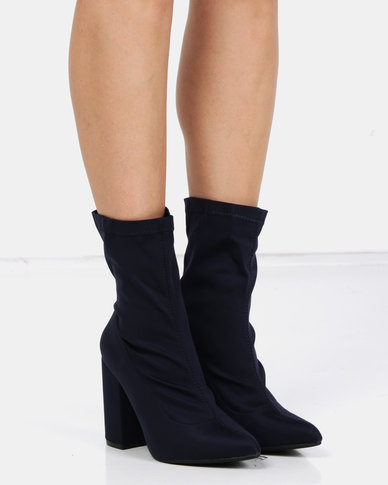 Utopia Stretch Block Heel Boots Blue