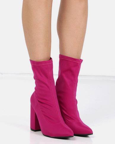 Utopia Stretch Block Heel Boot Pink